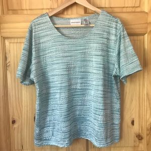 Alfred Dunner metallic floral knit top Sz L